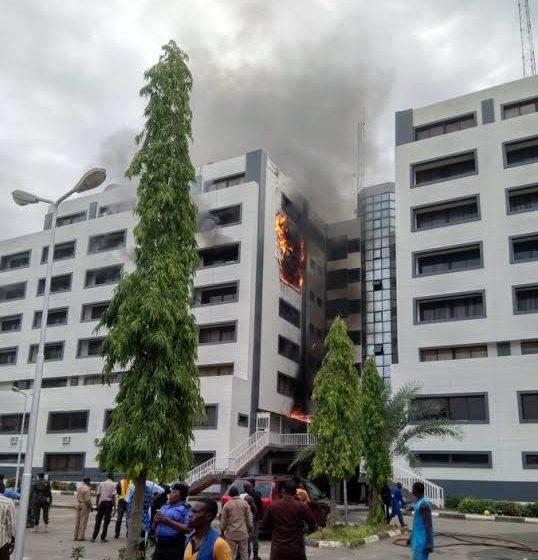 BREAKING: Nigeria Treasury House in Abuja on fire