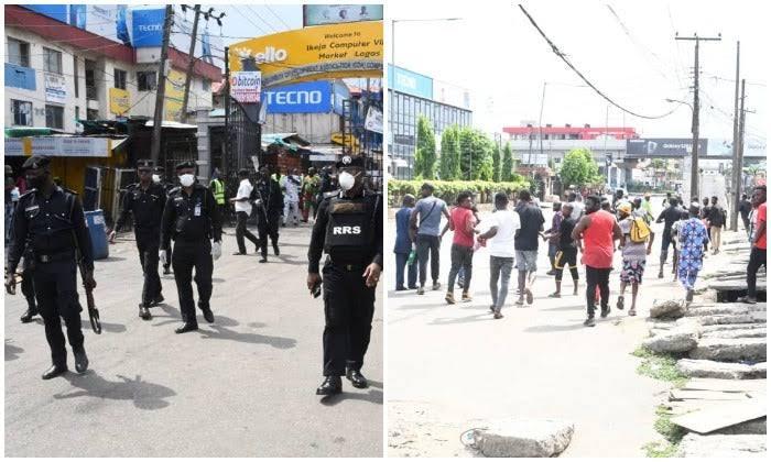 Lockdown: Police cordon Computer village, bar traders