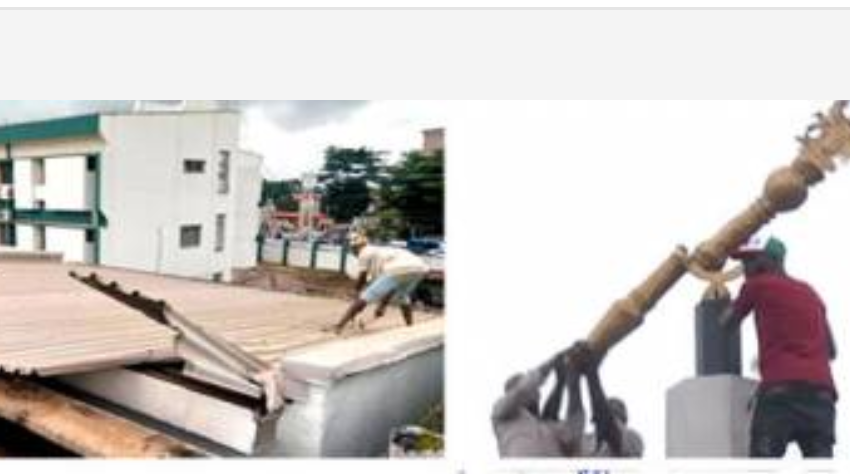 Edo Assembly Roof Removed, Mace Statue Dismantled
