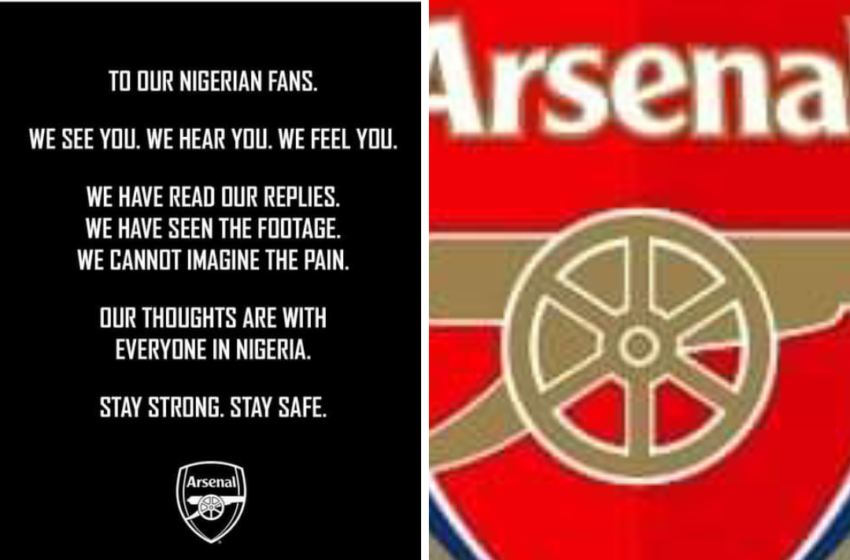 #ENDSARS: Arsenal sends message to Nigerian fans amidst unrest