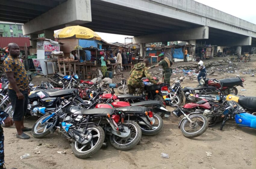 Taskforce impounds 100 Okada plying restricted routes in Lagos