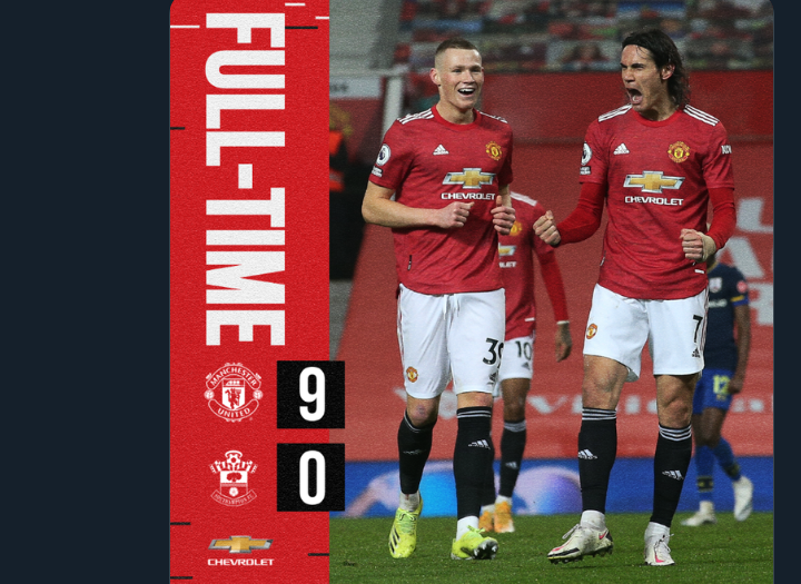 Manchester United crush Southampton 9:0 in historic victory