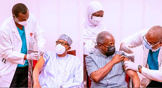 Buhari, Osinbajo Get Vaccinated Against COVID-19 On Live TV