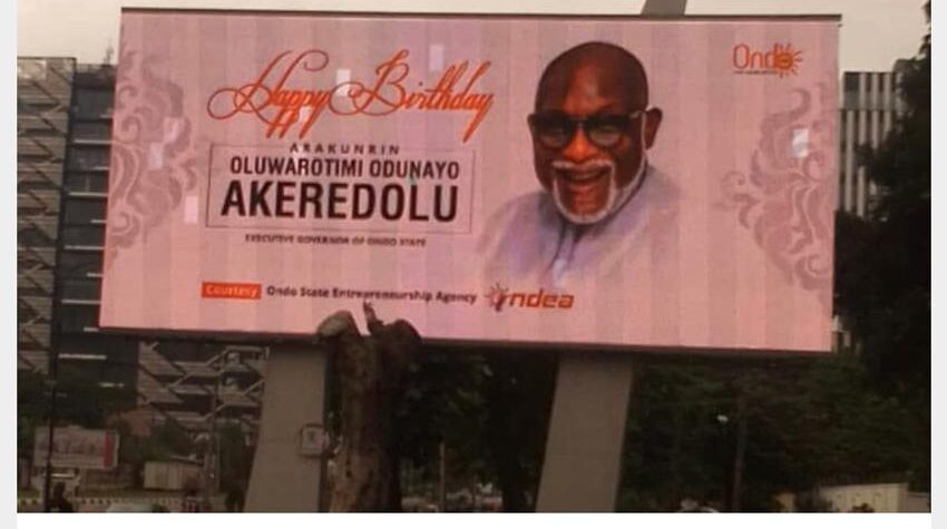 Birthday: Akeredolu's Face lights up digital billboards in Ikoyi, Victoria island Lagos