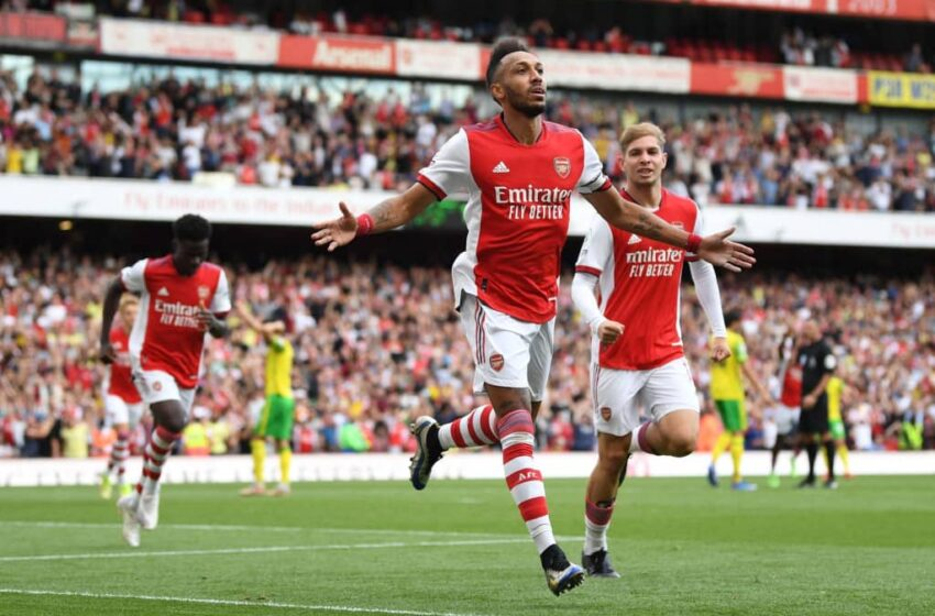 Aubameyang secures Arsenal's first win